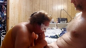 Bbw milf sucks my cock then rides me hard in a chair reverse cowgirl