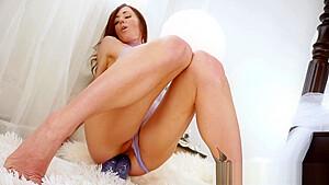 Horny brunette toys her ass